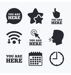 You are here icons info speech bubble sign vector