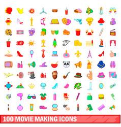 100 movie making icons set cartoon style vector
