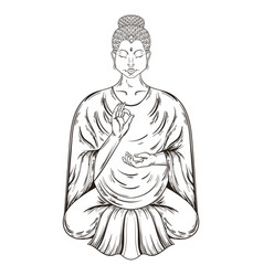 Sitting buddha in lotus pose teaching vector