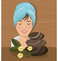 Spa woman towel closed eyes stones relaxing wood vector