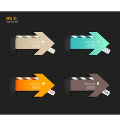 Four colored paper arrows vector image