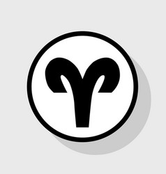 aries sign   flat black icon vector image