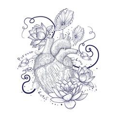 Human flora heart hipster tattoo love wild heart vector