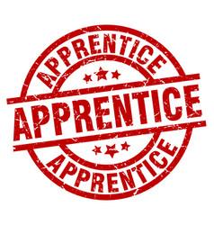 Apprentice round red grunge stamp vector