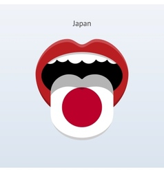 Japan language abstract human tongue vector