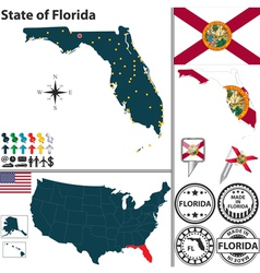 Map of florida vector