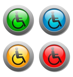 Disabled icon set on glass buttons vector