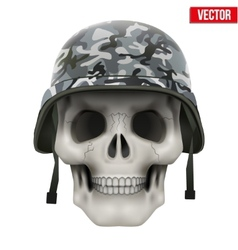 Human skull with military helmet vector