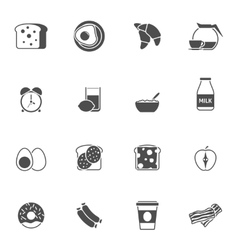 Breakfast and morning black white icons set vector