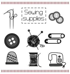 Set of icons with sewing tools vector