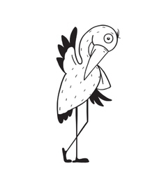 Stork cartoon childish character for kids vector