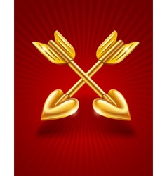 two crossed gold arrows of vector image