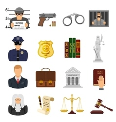 Crime and punishment flat icons vector