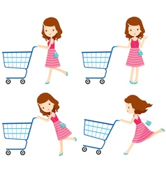 Girl shopping cart set vector