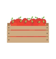 Box with fresh red apples vector