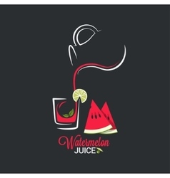 Watermelon juice glass and jug of summer smoothie vector