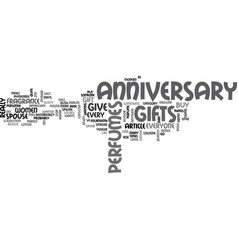 Anniversary gift ideas for the husband text word vector
