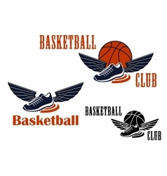 Basketball icons with winged sneakers and balls vector image