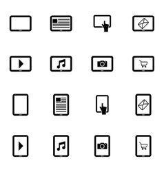black tablet icons set vector image