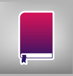 Book sign purple gradient icon on white vector