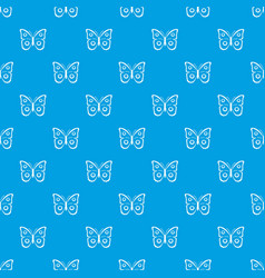 Butterfly peacock eye pattern seamless blue vector