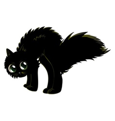 Cartoon black kitten vector image
