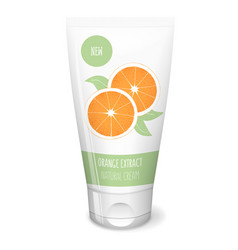 Citrus cosmetics with orange white tube cosmetics vector