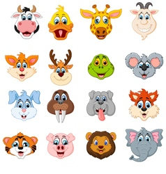 Collection of cute face animal vector