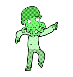 Comic cartoon alien man dancing vector
