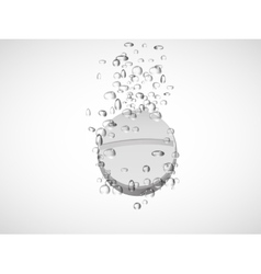 Effervescent tablet in water with bubbles vector