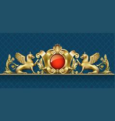 emblem with golden gryphon 2 vector image