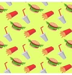 Fast food seamless pattern with cheeseburgers vector