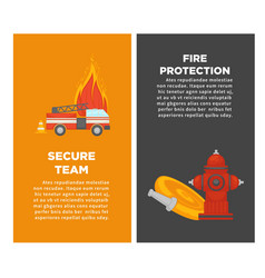 Fire protection or firefighting secure team vector