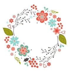 Floral round composition vector image vector image