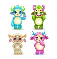 Funny cartoon fluffy baby monsters set vector