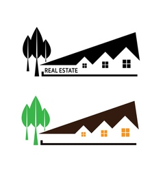 House and tree on white background vector