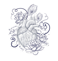 Human flora heart hipster tattoo love wild heart vector