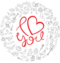 I love you background with icons for valentines vector