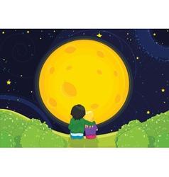 Kids sitting under moonlight vector image