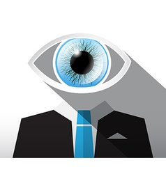 Man in Suit with Big Blue Eye Abstract Businessman vector image