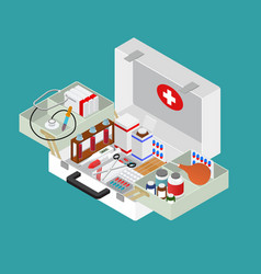 medical case with equipment isometric view vector image vector image