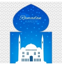 Mosques silhouette on blue night background vector