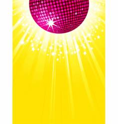 pink disco ball party background vector image vector image