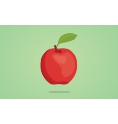 red apple isolated with green vector image