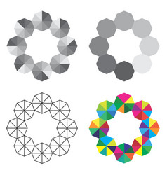 Round frames made of simple geometric shapes vector