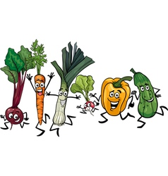 running vegetables cartoon vector image vector image