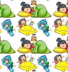 Seamless background with kids sleeping vector