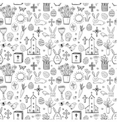 Seamless pattern with easter doodle sketches on vector