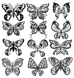 Set butterfly in black and white vector image vector image