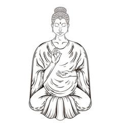 Sitting buddha in lotus pose teaching vector